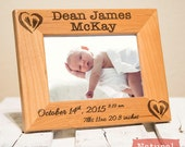 Personalized Birth Announcement Picture Frame Engraved on Wood-Baby Name-Baby Stats-Newborn Gift- Color of your choice!