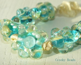 "Handmade lampwork Bumpy beads ""Tuquoise"" Creeky Beads SRA"