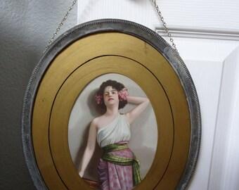 Vintage Victorian Art Deco Lady Chimney Flue Wall Hanging