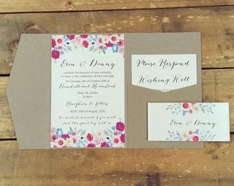 Wedding invitation Rustic Floral Pocketfold wedding invitation sample