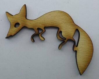 Wood Brooch -Fox - BRO069