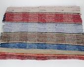 Vintage Hungarian Rag Rug. Red Blue Stripe . Hall Runner.  Long Corridor Rug.