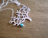 Silver Tree Necklace with Turquoise Gemstone Collier Arbre de Vie Argent avec Turquoise Gift idea