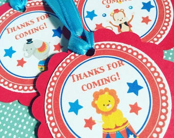 Circus Party Gift Tags Or Stickers, Set of 12