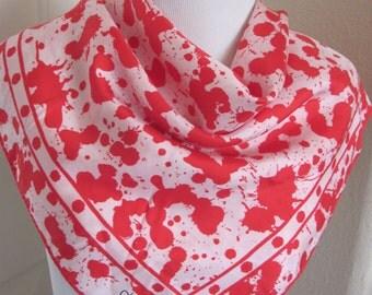 """Diane von Furstenberg // Lovely Red White Soft Silk Scarf  // 24"""" Inch 56cm Square"""