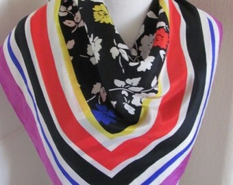 "Beautiful Colorful Soft Silk Scarf  // 28"" Inch 70cm Square // Best of the Best"