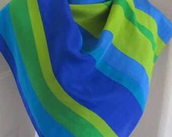 "Liz Claiborne // Beautiful Blue Green Silk Scarf  // 31"" Inch 78cm Square"