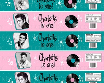 Printable DIY Personalized 50's Elvis Theme Water Bottle Labels