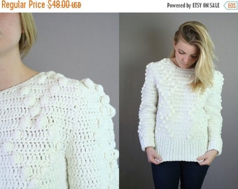 ON SALE Vintage1980s Hand Crocheted Sweater