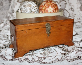 Antique Wood Box Chest Casket Footed Hinged Lid
