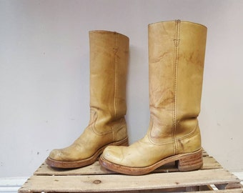 70s Campus Boots Stacked Heel