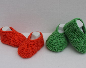 Hand Knit Cotton Seamless Summer Baby Booties. Knit Baby Girl Booties. Knit Baby Boy Booties. Orange Booties. Green Booties.