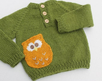 Clearance. Owl Baby Sweater. Hand Knit Baby Sweater. Green Baby Sweater. Baby Boy Sweater. Baby Girl Sweater.