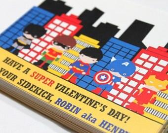 Superhero valentine cards, superhero valentine, personalized valentine, personalized valentine card,