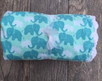 Elephant baby blanket, baby boy/girl minky blanket, gender neutral baby blanket babyshower gift, crochet baby blanket,handmade baby blanket