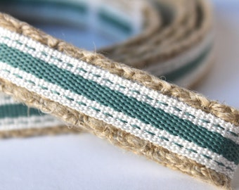"Sage Green and White Dog Leash, 6 ft Dog Leash, 5/8"" Wide Dog Leash, Spring Stripe Dog Leash"