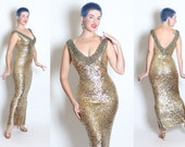 MINT 1950's Rare Metallic Gold Hand Sequined / Beaded Extreme Hourglass Evening Gown by Gene Shelly Boutique Internationale - NYE - M to L