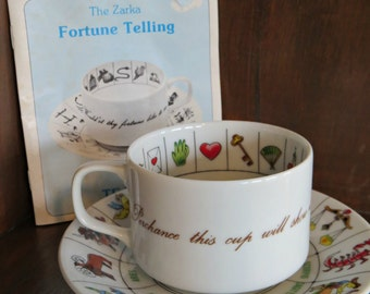 Vintage Zarka 1970s Gypsy Astrology Fortune Telling Tea Cup and Saucer Set and Instruction Booklet