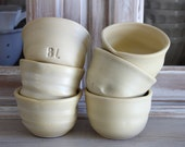 SALE 6 POTTERY Bowl/Cups, Organic Food Safe. Hand Thrown French Farmhouse, Jeanne d Arc Living