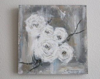 ORIGINAL 12x12 Hand Painted..White ROSES on wood..Salvage Frame..Cottage Shabby Chic, French, Jeanne d Arc style. SIGNED