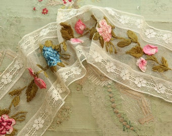 Antique silk ribbonwork flower cluster trim tiny rose peachy pink ombre trim doll flappers