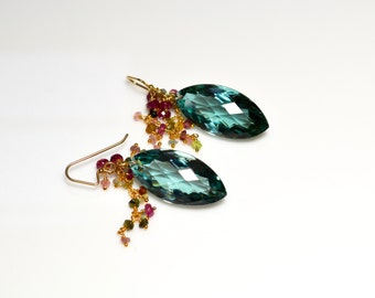 LP 1301 Sparkling Marquise Faceted Green Quartz And Tourmaline OOAK Earrings