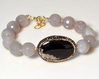 LP 1297 Banded Grey Agate, Black And Grey Agate Focal, Inlaid Swarovski Crystals Bracelet