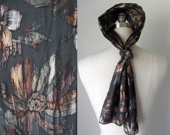 80s 90s Black Metallic Gold and Bronze Floral Sheer Head or Neck Scarf Hipster Boho Glam Rock