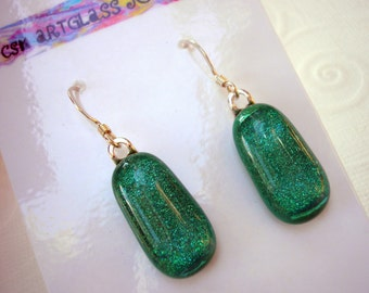 Green Earrings Dichroic Fused Glass Shimmering Soft Green Shifting to Aqua Iridescent  925 Sterling Silver Jewelry Women's Pierced Earwires