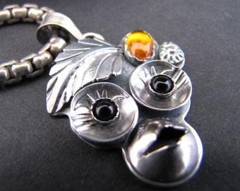 Petite Sterling Sylvan Monkey with Amber and Onyx Pendant