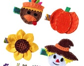 Happy Harvest Hair Clip Set - Scarecrow - Turkey - Sunflower - Pumpkin Felt Clips