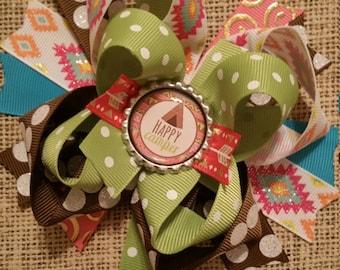 Happy Camper Hair Bow, Colorful Hair Ribbon, Custom Baby Hairbow, Ribbon Hair Clip, Baby Hair Bow Clip aztec bow