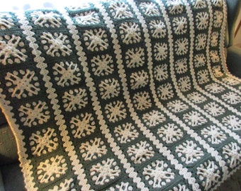 Handmade Crochet Striped Textured Granny Afghan Dark Spruce Light Tan 60 x 64