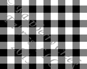Black and White Buffalo Check 4 Way Stretch FRENCH TERRY Knit Fabric, Club Fabrics