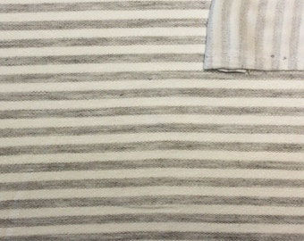 Grey and Cream Striped Rayon Spandex Micro French Terry Knit Fabric, 1 Yard OTB