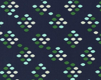 Navy Green and Aqua Diamond Dot Cotton Fabric, Cookie Book Kimberly Kight for Cotton and Steel, Drop Pistachio, 1 Yard