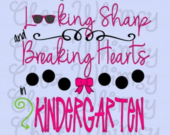 Kindergarten SVG, Back to School SVG, Girl School Design, Bow, Sunglasses Svg, Looking Sharp and Breaking Hearts