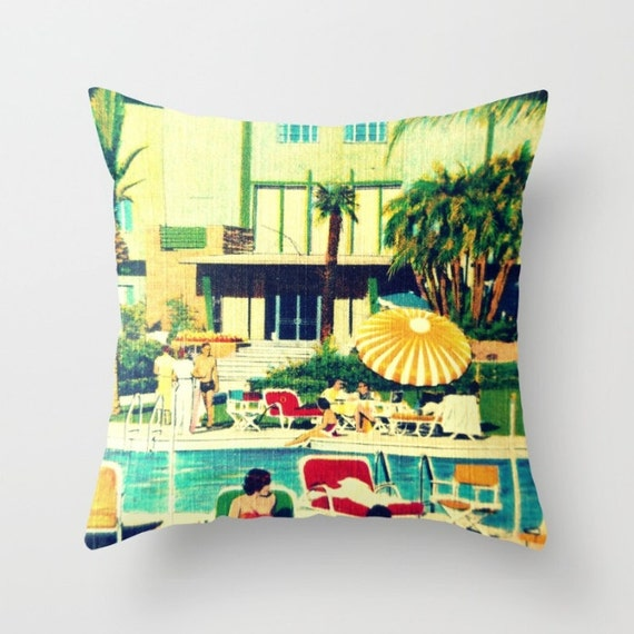 Beach Art Throw Pillow Cover Wife Gift Mid Century Pillow