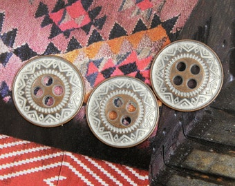 Metal Buttons - Tribal ZIG-ZAG Metal Buttons , Copper Silver Color , 4 Holes , 0.71 inch, 10 pcs