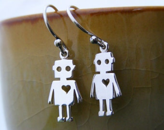 Tiny Robot Earrings, Sterling Robot Jewelry, Simple Earrings, Sci Fi Earrings, Silver Earrings
