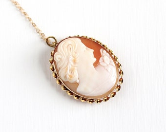 Sale - Vintage 10k Yellow Gold Carved Shell Cameo Pendant Necklace - 1930s Floral Twisted Scalloped Fine Brooch Pin Jewelry Signed AMCO