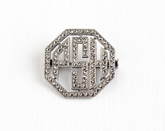Vintage Sterling Silver Art Deco Marcasite Initial PSH French Brooch - Antique 1920s Letter Monogram Octagon Jewelry Pin Made in France