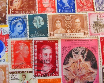 Lovely Ladies of Luxury 50 Vintage Postage Stamps Queen Princess Dutchess Mothers Day Crown Tiara Ephemera Scrapbooking Worldwide Philately
