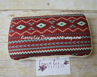Burgundy Aqua Blue and Cream Aztec Print, Tribal, Baby Wipe Case, Travel Wipe Case, Personalized Case, Diaper Wipe Case, Baby Shower Gift