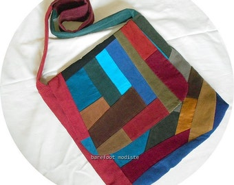 Colorful Patchwork Corduroy Bag, One of a Kind Crossbody Messenger Bag, Handmade by Barefoot Modiste, Unique Bohemian Wear, Large size bag