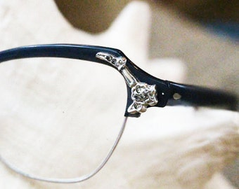 Vintage Eye Glasses, Charcoal Gray Plastic Frame with Silver Design on Corner, Modified Cat Eye Glasses,   -  G
