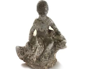 Vintage Cement Concrete Boy with Fish Garden Lawn Statue Ornament