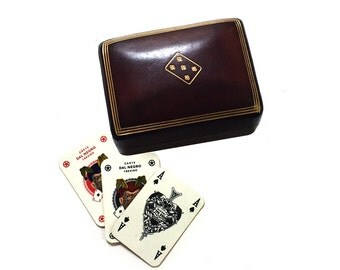 Vintage Italian Leather Playing Card Case with Two Miniature Decks Dal Negro Treviso