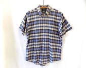 Vintage India Madras Shirt Traditional Handwoven by Tarra Hall L
