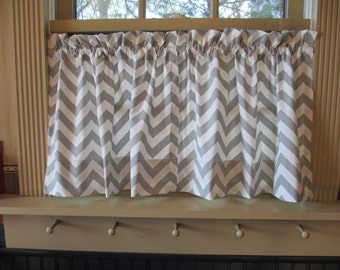 SALE New Cafe Curtains Grey Chevron Zigzag Fabric set 25 x 24 Tiers